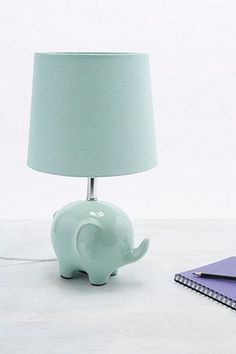 Mint green lamp in elephant shape with EU Plug