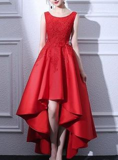 Beautiful Red Satin and Lace High Low Round Neckline Party Dress, Red Party Dress, Red Homecoming Dresses - outfits - Red Dress Red Homecoming Dresses, Grad Dresses, Colored Wedding Dresses, Evening Dresses, Short Dresses, Fashion Dress Up Games, Fashion Dresses, Fashion 2018, Fashion Styles