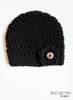 Chunky Black Button Hat Pattern {CROCHET PATTERN}