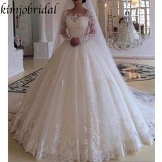 Plus Size Wedding Dresses Robe De Mariee Long Sleeve Ball Gown Gorgeous Bridal Gowns 2019 Sweep Train Country - Brautkleider Ballkleid - brautkleid Lace Wedding Dress With Sleeves, Lace Ball Gowns, Applique Wedding Dress, Long Sleeve Wedding, Ball Gown Dresses, Lace Applique, Evening Dresses, Dress Lace, Dresses Dresses