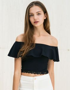 - Womens off shoulder casual ruffle lace top - For the modern fashionista - Beautiful design offers a cute stylish look - Great for the workplace or casual outings - Made from high quality material - Available in dark blue Moda Outfits, Casual Skirt Outfits, Trendy Outfits, Summer Outfits, Girl Outfits, Cute Outfits, Fashion Outfits, Ladies Fashion, Women's Fashion