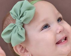 U CHOOSE COLOR Chiffon hair bow Headband by BabyBloomzBoutique