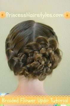 Braided Flower Updo, Easter Hairstyles possible flowergirl hair Princess Hairstyles, Flower Girl Hairstyles, Fancy Hairstyles, Creative Hairstyles, Little Girl Hairstyles, Braided Hairstyles, Hairstyle Ideas, Braided Updo, Princess Updo
