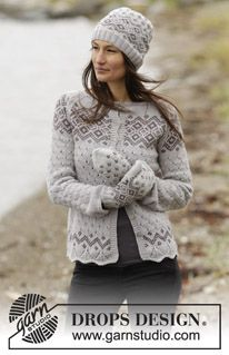 "Gorgeous jacket with lace pattern, Nordic pattern and raglan in #DROPSDesign ""Lima"". #knitting"