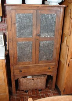 Antique American Maple & Pine Pierced Tin Pie Safe                             ****