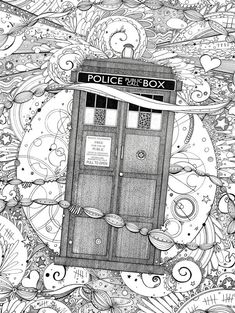 TARDIS Dr. Who adult coloring page | Adult coloring, Tardis and Etsy