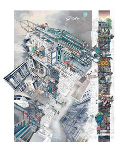 Image 1 of 1 from gallery of World Architecture Festival Calls for Entries for 2018 Architecture Drawing Prize. Memento Mori: A Peckham Hospice Care Home by architecture student Jerome Xin Hao Ng (UK), winner of the 2017 Architecture Drawing Prize. Architecture Graphics, Architecture Drawings, Architecture Design, Creative Architecture, Architecture Diagrams, Architecture Portfolio, Memento Mori, Bartlett School Of Architecture, World Architecture Festival