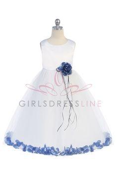 White/Royal Sleeveless Satin Flower Petal Flower Girl Dress K160BRB $38.95 add $15.00 for size 6 on www.GirlsDressLine.Com