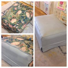 Old fabric ottoman painted using Paris Grey Chalk Paint decorative paint by Annie Sloan and finished with Clear Wax. #morethanpaint #chalkpaint