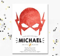 The Flash, The Flash Birthday Party, The Flash invite, invitation for boys party, Superhero invitation, Superhero party, Motif Visuals by MotifVisuals on Etsy https://www.etsy.com/listing/279543110/the-flash-the-flash-birthday-party-the