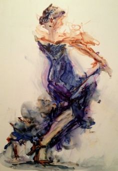 Woman in a Blue Dress - original watermedia figurative painting, painting by artist Connie Chadwell