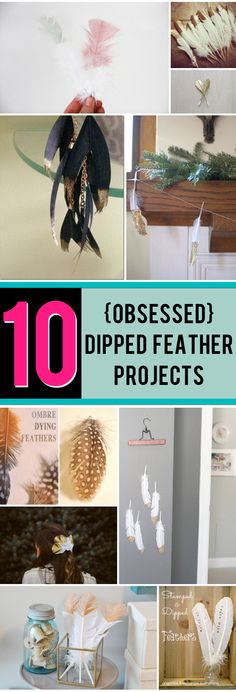 10 dipped feather projects / DIY Gold dipped feathers are all the rage! Come find out what kinds of projects you can make with them!