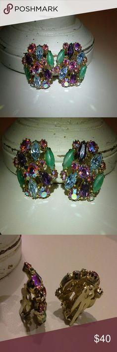 Sale ♥ Gorgeous vintage/antique earrings Purchased from a local antique store. clip on, in excellent vintage condition. all stones intact as seen in pictures. looks great dressy or with jeans and t-shirt.  Reduced from $40 Vintage  Jewelry