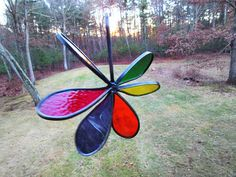 SUNCATCHER  3D Stained Glass Rainbow Flower by OstisInspirations