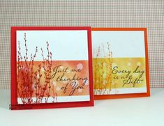 I created some cards using fall colours and stamps from Hero Arts. The coloured panels are made by sponging on Distress Inks and then dropping water on.
