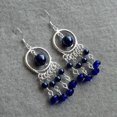 navy glass pearls and earrings by stone love