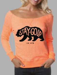 Tangerine Stay Gold French Terry Sweater // California Bear