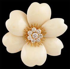 VAN CLEEF & ARPELS Diamond & White Coral Rose de Noel Brooch - Yafa Jewelry