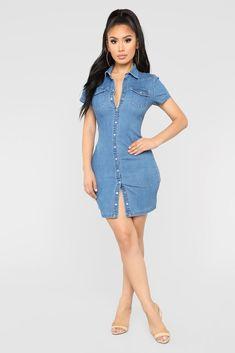 f8c319ce6ba5 Jett Button Down Denim Dress - Medium Blue Wash. Work Dresses For Women ...