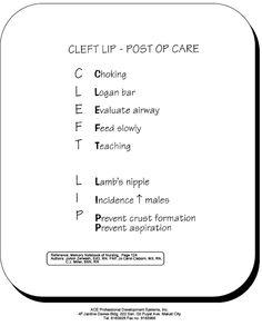 cleft lip - post op care - pediatrics Nursing Exam, Nursing Assessment, College Nursing, Nursing Mnemonics, Nursing Pins, Nursing School Tips, Nursing Notes, Nurse Pics, Rn Nurse