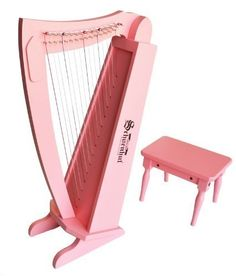 "Schoenhut 15 String Harp w/ bench - Pink  Range of 15 notes  Nylon strings that are tunable with zither pins and a zither pin wrench  Harp Includes: Bench and tuning wrench  Assembled dimensions: 8.75"" L x 13.5"" W x 27"" H"
