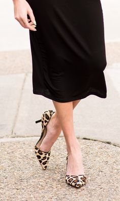 Leopard printed haircalf mid heels