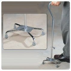 "Adjustable Quad Cane Standard Base - Model A70020 by Sammons Preston. $72.89. This item may differ from the image shown. This item may be a replacement or optional part for the image shown, or differ in model, color, etc. Please review the title and features carefully before placing your order.. HCPCS Code: E0105. Lightweight aluminum cane adjusts from 29"" to 38"" and has vinyl grip handle. Rubber tips provide slip-resistant traction. 300 lbs weight capacity. Caution..."