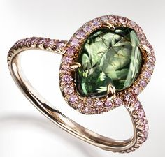 The Imperial Green  RIng with 1 rare natural green rough diamond weighing 4.14 carats, Vivid pink micro pave diamonds accents totaling 0.53 carats handcrafted in 18K Rose Gold. Doesn't this ring speaks straight to your soul?