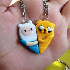 Adventure Time Heart Friendship Necklaces by momomony on Etsy, $13.00