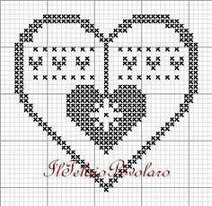 ... e la serie continua... voilà!! Xmas Cross Stitch, Cross Stitch Heart, Cross Stitching, Crochet Chart, Filet Crochet, Crochet Motif, Christmas Embroidery, Christmas Knitting, Cross Stitch Designs