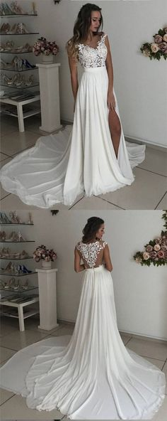 White Cap Sleeves Lace Chiffon Side Slit Long Prom Gowns 0769 by RosyProm, $153.99 USD