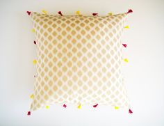 20x20 White and Gold Silk Pillow Cover with Tassels by PrivateLabelBoutique on Etsy https://www.etsy.com/listing/210556551/20x20-white-and-gold-silk-pillow-cover