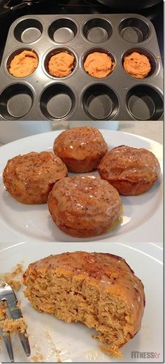 Healthy snack w/ no sugar! pumpkin protein cinnamon rolls - only 115 calories from Fitness Rx Yummy Treats, Delicious Desserts, Yummy Food, Pumpkin Cinnamon Rolls, Cinnamon Muffins, Pumpkin Pumpkin, Pumpkin Protein Muffins, Sugar Pumpkin, Pumpkin Spice
