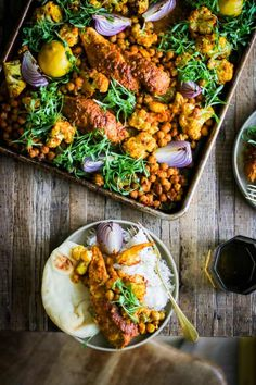 Shawarma Spiced Chicken Sheet Pan Dinner with chicken, cauliflower, chickpeas, red onion, lemon and cilantro! Chicken Spices, Chicken And Vegetables, Chicken Recipes, Fish Recipes, Clean Eating Recipes, Healthy Recipes, Healthy Eating, Healthy Habits, Delicious Recipes