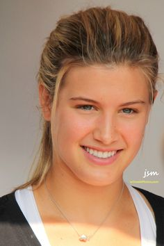 """""""A woman whose smile is open and who se expression is glad has a kind of beauty no matter what she wears. 10 Most Beautiful Women, Beautiful Girl Image, Beautiful Smile, Canadian Tennis Player, Tennis Players Female, Eugene Bouchard, Tennis Photos, Maria Sharapova Photos, Prettiest Actresses"""