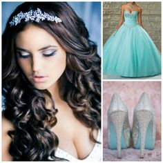 Blue Color Theme Ideas | Quinceanera Ideas | quinceanera Hairstyle | Quinceanera Makeup | Quinceanera Heels