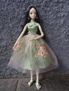 Green Lace Dress for Resin Enchanted Doll by HandmadeByOkti on Etsy
