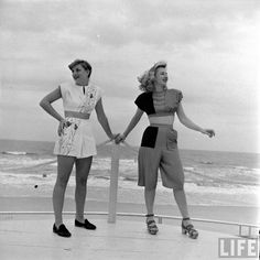 """I LOVE the asymmetrical playsuit to the right! Such creativity and style. Captures that fun part of 1940s fashion that I love so much. """"Underwater fashion show"""" was shot by Sam Shere in 1947 for LIFE Magazine."""