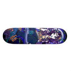 "Shop ""Uxia"" Twilight Moon Gothic Mermaid Skateboard created by mykajelina. Custom Skateboards, Cool Skateboards, Skater Girl Style, Skater Girls, Sea Turtle Shell, Twilight Moon, Gothic Fairy, Shell Art, Hard Rock"