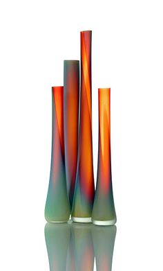 Hand-blown and Frosted Tsunami Glass Tubes - Tsunami Glassworks is comprised of two very talented artists; Eva Milinkovic and Kriston Gene. The couple has been collaborating in glass for four years in Montreal, Ontario, Canada.