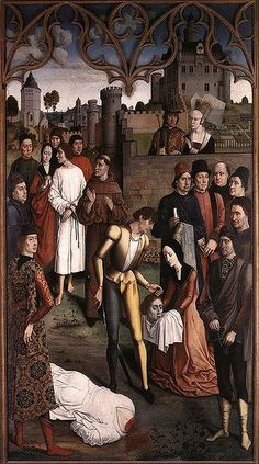 The Execution of the Innocent Count by Dieric Bouts (Nertherlandish), ca. 1460 -- Two women wear v-neck gowns. The one in the foreground wears hers without a belt.
