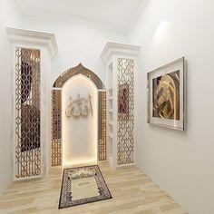 47 Praying Room Interior Design That You Can Try In Your Home # Design Room Interior Design, Home Room Design, Living Room Designs, Home Interior, Prayer Corner, Islamic Decor, Arabic Decor, Prayer Room, Prayer Closet