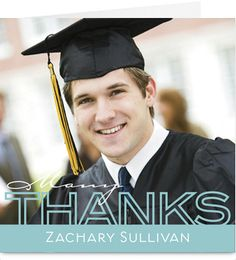2012 Blue Thanks Overlay Graduation Thank You Card