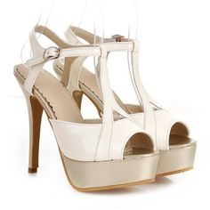 Sexy Style Women's Sandals With T-Strap and Patent Leather Design