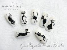Nails with cats by Magdalena Traks Indigo Nails Lab Cat Nail Art, Cat Nails, Paw Print Nails, Nail Atelier, Nail Lab, Nailart, Indigo Nails, Nails For Kids, Rose Gold Nails