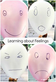 feeling balloons collage with text. activities for teaching young children about feelings. helpful for learning to accurately identify and talk about feelings. great for preschool and kindergarten ages