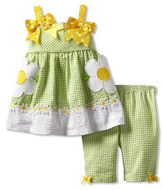 Size-2T, Green, BNJ-7540R, Green-White-Yellow Daisy Applique Seersucker Dress and Capri Outfit Set,Bonnie Jean Todders Girl Party Dress