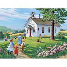 "2013 ""Higher Education"", Country Seasons Calendar by John Sloane Old School House, Art School, School Days, Sunday School, Country Art, Country Life, Old Country Churches, Farm Art, Country Scenes"