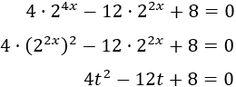 aplicamos el cambio de variable t = 2^(2x) obteniendo la ecuación de segundo grado 4t^2 -12t + 8 = 0