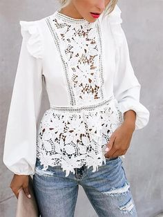 Lace stitching sexy fungus long-sleeved top - New Ideas Blouse Peplum, Lace Peplum, White Long Sleeve, Long Sleeve Tops, Look Street Style, Street Styles, White Shirts Women, Lace Outfit, Shirt Blouses